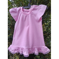 Šaty růžové s šedými puntíky