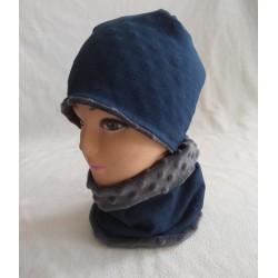Dětská fleecová zimní čepice - barva jeans