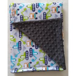 Dětská deka minky + bavlna BAGRY