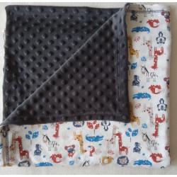 Dětská deka minky + bavlnaDětská deka minky + bavlna ZVÍŘÁTKA